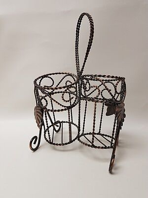 Vintage Wrought Iron Wine Rack Bottle Storage Carrier Bar Tool Twisted Iron
