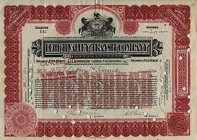 Lehigh Valley Transit Company Capital Stock Certificate 20 Shares 1913