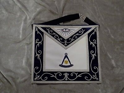 Past Master Masonic Apron Silver & Gold Bullion w/out Square Satin Pocket NEW!