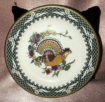 Estate Collectable Small Franklin Porcelain Turkey Butter Pat Pin Dish Vintage