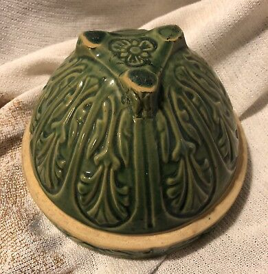 Roseville Ohio Pottery Green Hanging Planter/bowl