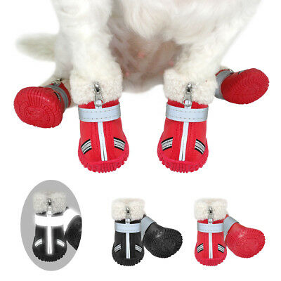 Pet Dog Waterproof Shoes Winter Warm Booties Rain Shoes Puppy Non-Slip 4pcs
