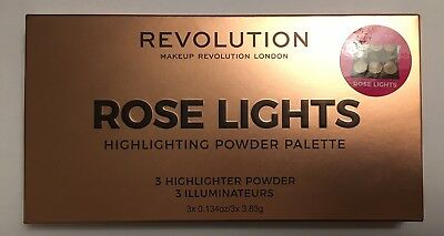 Revolution Beauty Rose Lights Highlighter Palette Trio Compact Pressed Powder