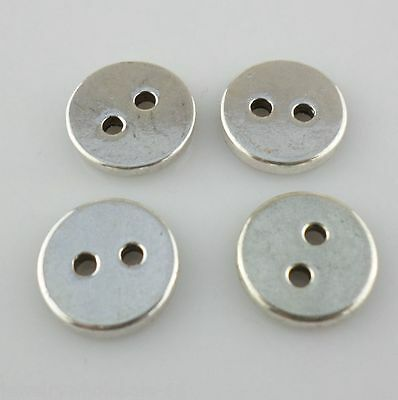 16/130pcs Tibetan Silver 12mm Round Smooth Button Charm Bails Connectors Beads