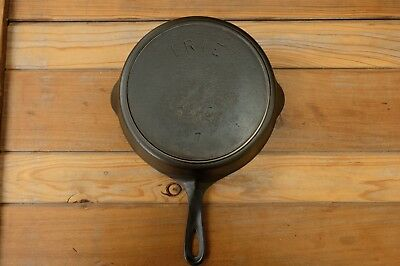 Antique ERIE Pre Griswold No.7 Cast Iron Skillet 701 E Inset Heat Ring HTF Rare