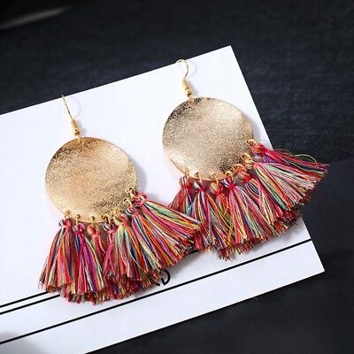 Women Elegant Bohemian Vintage Long Tassel Fringe Boho Dangle Earrings Jewelry