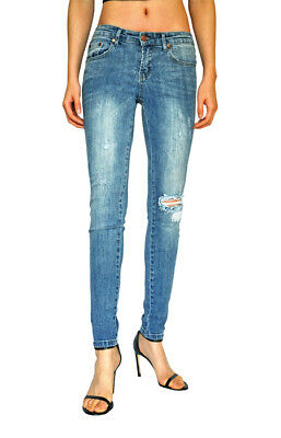 Wakee Blue Mid Rise Washed Denim Jeans With Ripped Knee. Size 6-16