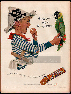 Vintage '57 Life Savers Candy Ad, Little Boy Pirate, Parrot, Skull & Crossbones