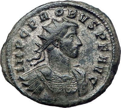 PROBUS 276AD Authentic Ancient  Silvered  Roman Coin Roma with Victory i73370