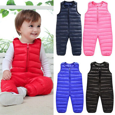 Baby Kids Boys Girl Winter Pramsuit Down Romper Overalls Pants Bodysuit Jumpsuit