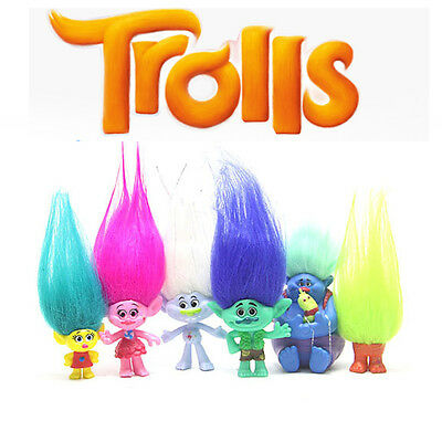 Happy Trolls Poppy Branch 6 PCS Action Figures Collection Doll Kids Gift Toys