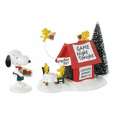 Department 56 Peanuts Village Snoopy's Game Night Lit House Figurine, 3 Inches
