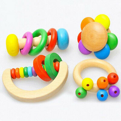 Kids Educational Toys Infants Wooden Hand Bell Instruments Toy Baby Rattles