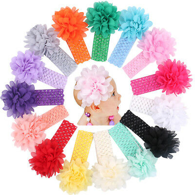 4Pcs/Set Kids Baby Chiffon Headband Infant Toddler Elastic Hairband Photo Props