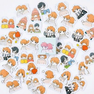 45pcs Cute Warmth Couple Stickers Kawaii Stationery DIY Scrapbooking Stickers