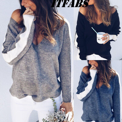 Women's Cold Shoulder V Neck Cut Out Long Sleeve Sweater Tops Blouse Shirt US
