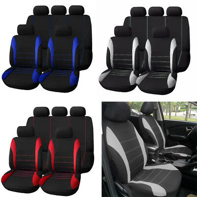 9Pcs Universal Full Set Car 5 Seat Cover Styling Front Rear Cushiion 4 Heads