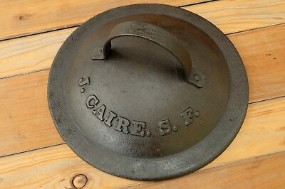 Justinian Caire Co. San Francisco History! Cast Iron Kettle Cover Gold Rush 1880