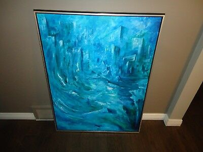 Vintage Oil Painting-New York City Flooding-Untitled-1970 Era-Unsigned