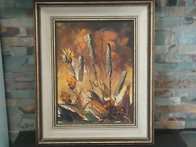 Vintage Bill Zuro Oil Painting-Autumn 12 X 16-Framed-Cattails