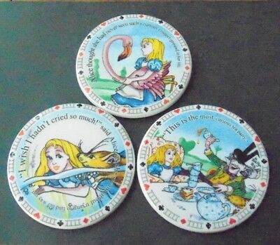 Paul Cardew Alice in Wonderland 3 Ceramic Coaster Set