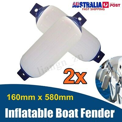 2X 58x16cm Boat Marine Blue Tip Buffer Inflatable Bumper Dock Shield Protection