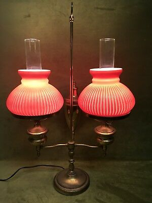 Antique Double Parlor Brass Student Desk Lamp Red Ribbed Glass Shades Farmhouse