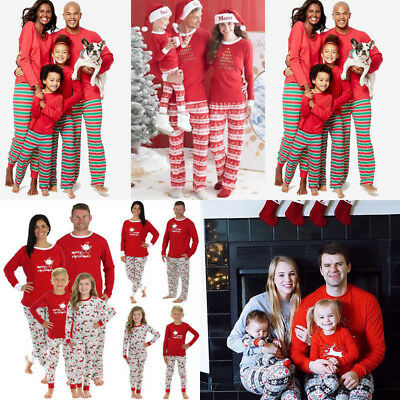 Family Matching Christmas Pajamas Set Women Baby Sleepwear Nightwear Romper Hats