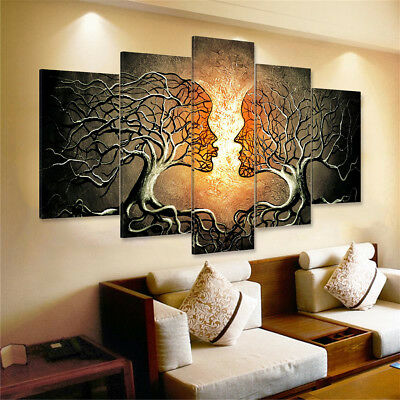 5 Panels Unframed Modern Abstract Lady Tree Print Picture Canvas Wall Art Prints