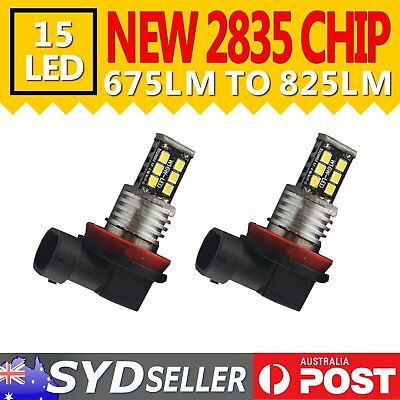 2x H11 2835 LED 15 SMD Fog Light Bulb Car SUV Driving Lamp DRL 6000K Super White