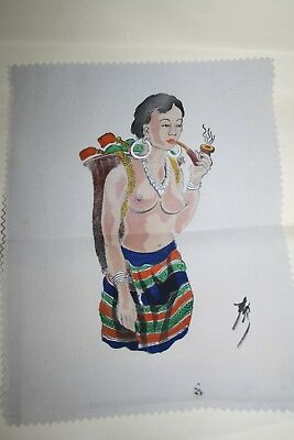 Vintage Hand Painted picture of pretty Asian lady smoking a pipe
