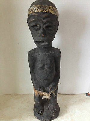 Vintage African Wood Carving Warrior Tribal Art Statue Figurine