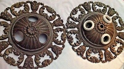 Pair of Matching Antique Cast Iron Ceiling Light Fixtures, 303