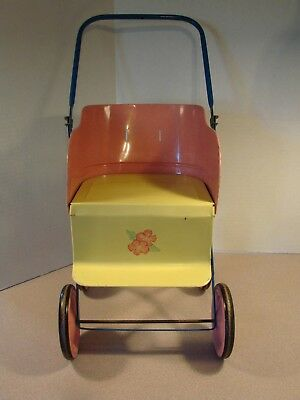 RARE VINTAGE TOY DOLL STROLLER Metal Lithograph ?1950's