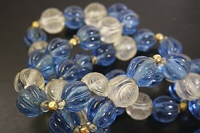 Antique Vintage Chinese Carved Clear Peking Glass Bead Necklace Characters
