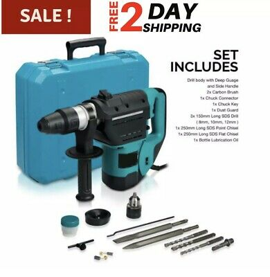 Demolition Jack Hammer Electric Concrete Breaker Punch 2 Chisel Bit Drill Case