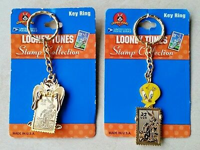 Looney Tunes Taz & Tweetie, USPS Stamp Collection Enameled Key Rings Made in USA