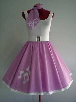 "GIRLS/CHILDS ROCK N ROLL/ROCKABILLY ""Music Notes"" SKIRT-SCARF 10-12 Mauve/White"