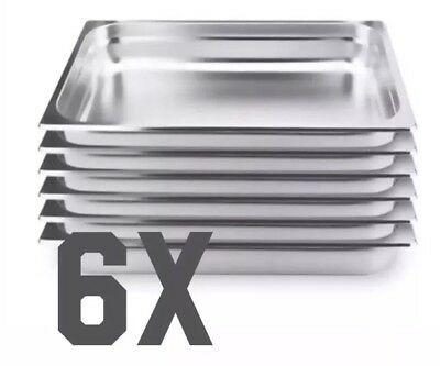 Set Of 6pcs Gastronorm Stainless Steel 1/1 pan 65mm deep: Commercial / Kitchen