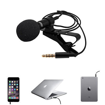 Mini Portable Clip on Lapel Lavalier Microphone Hands free 3.5mm Mic Condenser