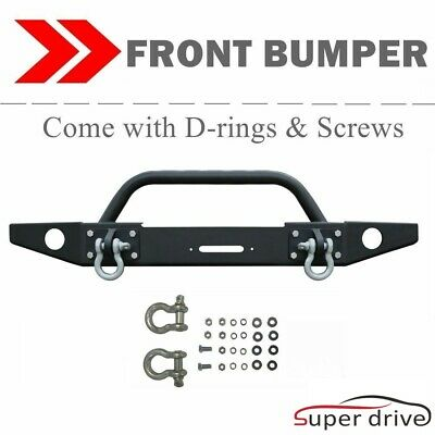 Textured Front Bumper Fit 2007-2018 Jeep Wrangler Jk W/Winch Plate Led Light Tab