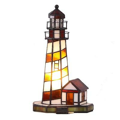 Bieye 11 inch Lighthouse Tiffany Style Stained Glass Accent Table Lamp