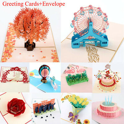 US 3D Pop Up Cards Carousel Lover Happy Birthday Anniversary Greeting Cards