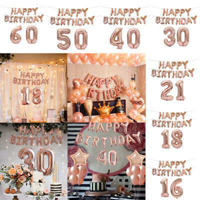 HAPPY BIRTHDAY 16th-60th 21st Rose Foil Self Inflating Ballons 15 Letter Bunting