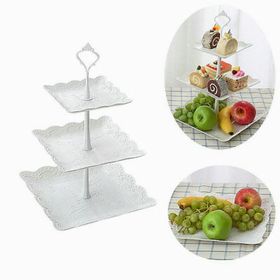 NEW 3 Tier Cake Stand Afternoon Tea Wedding Plates Party Embossed Tableware AU