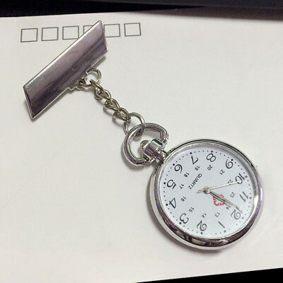 UK Stainless Steel Nurse Watch Brooch Tunic Pocket Quartz Doctor Watches Hanging