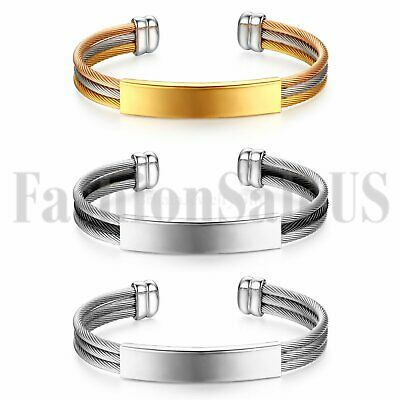 Personalized Men's Women Stainless Steel ID Tag Bangle Mesh Band Cross Bracelet
