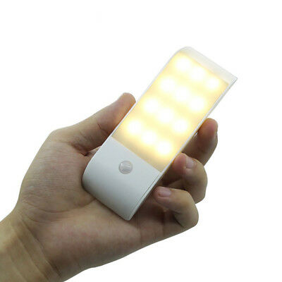 Rechargeable 12 LED PIR Motion Sensor Induction Night Light Cabinet Lamp Candy