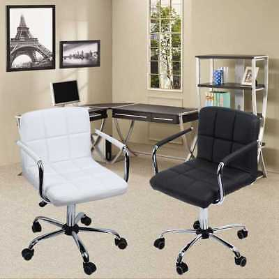 2x Home Office Luxury PU Leather 360° Swivel Rocking Chair Computer Desk  Chair