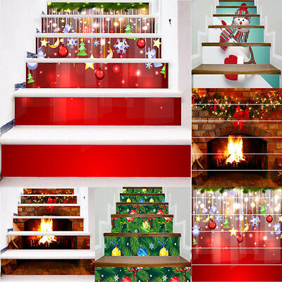 6pcs Christmas 3D Stair Risers stickers Photo Mural Vinyl Wallpaper Home Decals